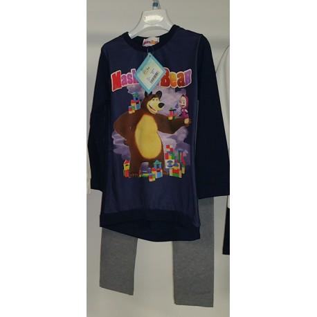Vestito Masha e Orso Blu con Leggings Grigi
