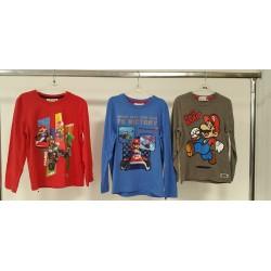 Maglietta a maniche lunghe di Super Mario. Blu o Rosso o Grigio