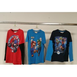 Maglietta a maniche lunghe Bicolor di Super Mario. Blu o Rosso o Azzurro