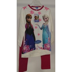 Vestito Frozen Bianco con Leggings Fucsia