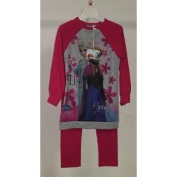 Vestito Frozen Grigio e Fucsia con Leggings Fucsia